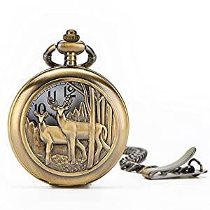 Deer Pocket Watch Chain Quartz Movement Arabic Numerals Half Hunter + Box