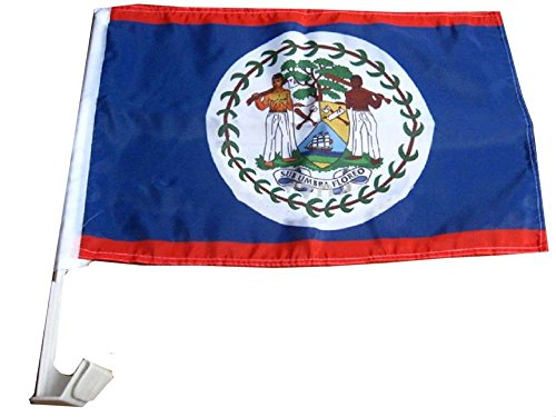 ALBATROS 12 in x 18 in (Pack of 12) Belize Country Car Vehicle Flag for Home and Parades, Official Party, All Weather Indoors Outdoors