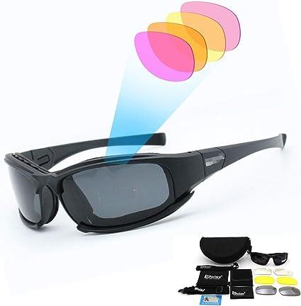 SUNWAN - Gafas de sol polarizadas deportivas, gafas de sol X7 de tácticas militares con 4 lentes intercambiables, gafas protectoras para hombres y mujeres para ciclismo, esquí, pesca: Amazon.es: Coche y moto