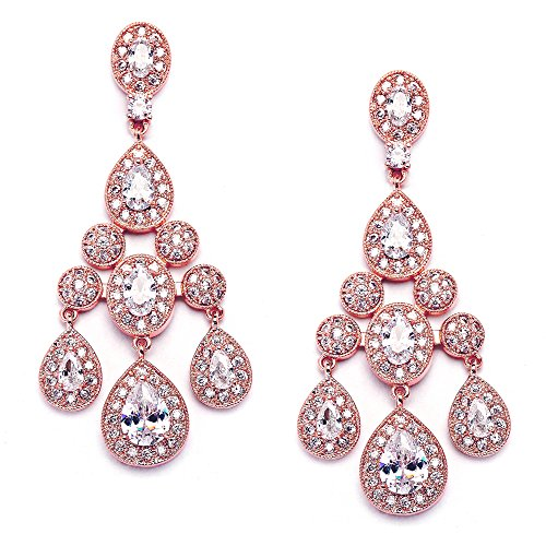 Mariell Gatsby Style Vintage 14KT Rose Gold Plated Wedding or Evening Cubic Zirconia Chandelier Earrings (Gold Earrings 14kt Dangle Jewelry)
