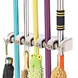 Imillet Mop and Broom Holder, Wall Mounted Organizer-Mop and Broom Storage Tool Rack with 5 Ball Slots and 6 Hooks (Gray)