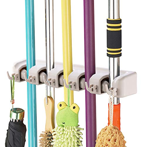 - Imillet Mop and Broom Holder, Wall Mounted Organizer-Mop and Broom Storage Tool Rack with 5 Ball Slots and 6 Hooks (Gray) (One Pack)