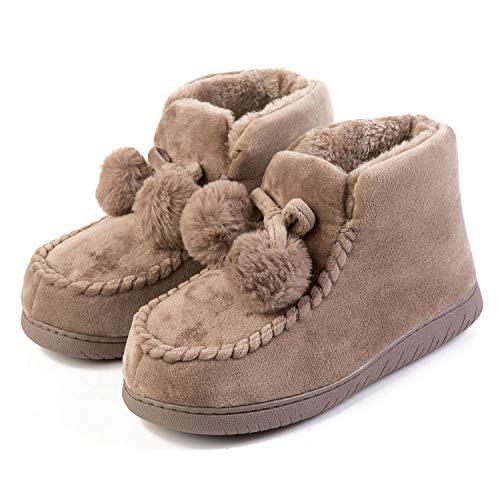 FEETCITY Ladies Cushion Walk Bobble Winter Faux Fur Fleece Lined Pom Pom Slipper Boots Khaki 6.5-7.5 M -