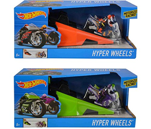 Hot Wheels Mattel Hyper Motorized Crank Launcher Ramp Side Motorcycle Racing Action - Colors May V, Orange and Red Helment