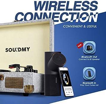 Grabador de Vinilo a MP3 con Cartucho magn/ético Tocadiscos de Vinilo con Bluetooth Sistema Hi-Fi con Altavoces Convertidor con contrapeso admite Salida Salida RCA Bluetooth