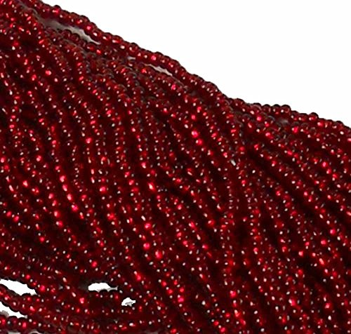 Ruby Red Silver Lined Czech 6/0 Seed Bead on Loose Strung 6 String Hank Approx 900 Beads