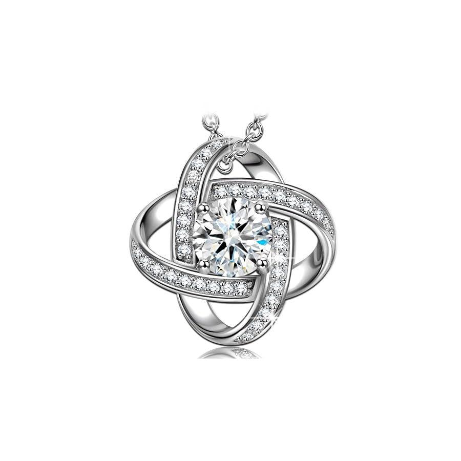 NINASUN Necklace Earrings Silk of Love Series 925 Sterling Silver CZ Stud Earrings Necklace for Women