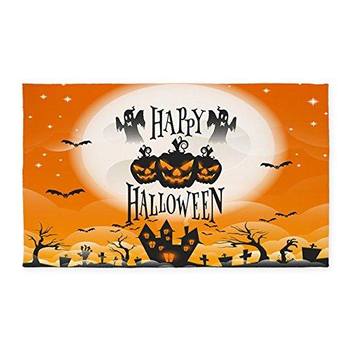 3' x 5' Area Rug Happy Halloween Ghosts Pumpkins