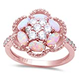 Rose gold Plated Lab Created Pink Opal & CZ Flower .925 Sterling Silver Ring Sizes 5-10