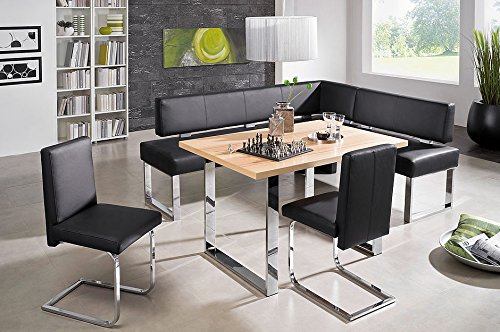 4 Piece High End Dining Set, Queens 151/3 Core Beech Breakfast Nook (Piece Dining 3 Breakfast Black Nook Corner Set)