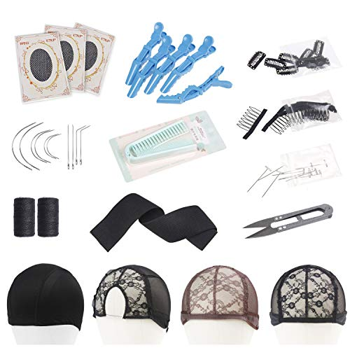 Wig Making Value Kit I J C Shape Needles Weaving Thread T-Pin Needle Wig Combs Clips Sewing Scissors Folding Comb Styling Hair Clips Elastic Spool Elastic Bands Dome Cap Middle Part Rose Lace Wig Caps