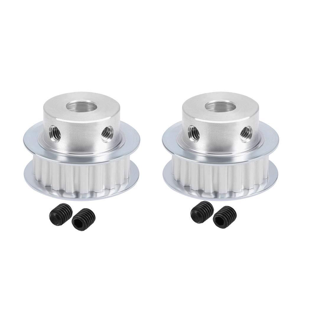 uxcell 2pcs Aluminum XL 20 Teeth 10mm Bore Timing Belt Pulley Flange Synchronous Wheel for 11mm Belt 3D Printer CNC