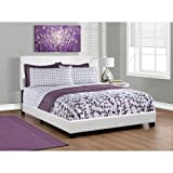 Monarch Specialties I 5911Q Bed with Leather Look Fabric, Queen, White