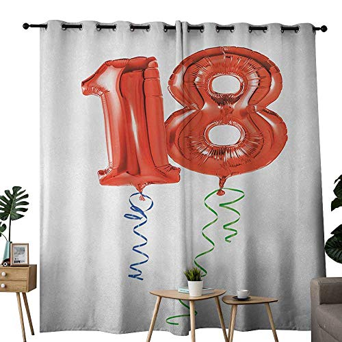 18th Yellow Scale - NUOMANAN Bedroom Curtain 18th Birthday,Flying Party Balloons with Curly Ropes 18 Years Old Image Art Print,Red Green and Blue,Insulating Room Darkening Blackout Drapes 120