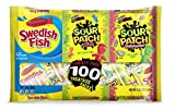 100 Count SOUR PATCH KIDS, SOUR PATCH KIDS Watermelon & SWEDISH FISH Halloween Bulk Candy Trick or Treat Size Variety Pack, Individual Snack Bags