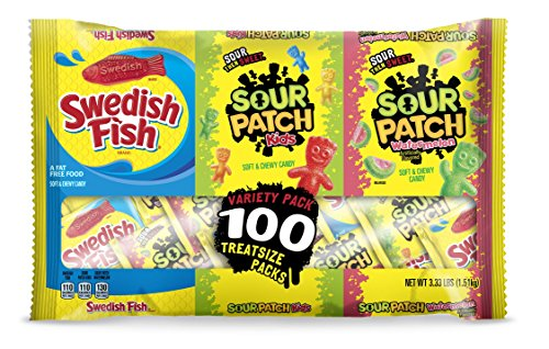 100 Count SOUR PATCH KIDS, SOUR PATCH KIDS Watermelon & SWEDISH FISH Bulk Candy Treat Size Variety Pack, Individual Snack Bags ()