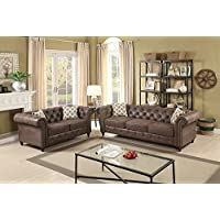 Leatherette Rolled Arm 2 Pieces Sofa Set In Dark Coffee Brown