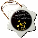 3dRose orn_179947_1 Black and Yellow Drone with Description of Accessories Snowflake Ornament, Porcelain, 3-Inch