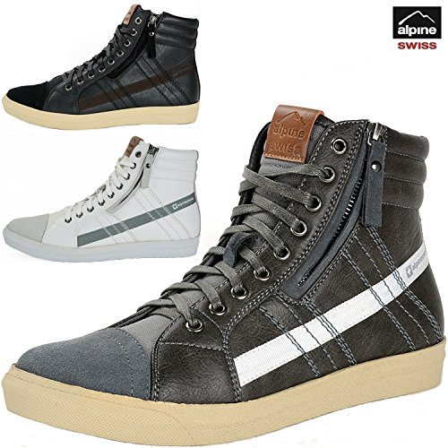 alpine swiss Mens Reto Canvas and High Top Sneakers