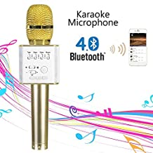 Mifanstech Portable Wireless Karaoke Microphone Bluetooth Karaoke MIC Machine Handheld Mini Speaker for Home KTV for Apple iPhone Android Smartphone/PC (Gold)
