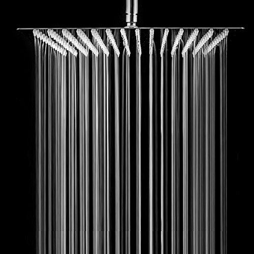 SARLAI Solid Square Ultra Thin 304 Stainless Steel Brushed Nickel 10 Inch Adjustable Rain Shower Head ,Waterfall Full Body Coverage with Silicone Nozzle