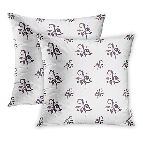 Emvency 16x16 Inch Decorative Set of 2 Throw Pillow Cover Antique Floral Toile Charcoal Baby Black Chic Square Home Cushion Sofa Two Sides Pillow Case