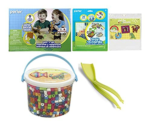 Perler Beads Kit & Pegboards BIGGIE Bundle- Fun Fusion 1200 Multi Color & 1000 Counts Pets-n-Vet Bead Kit, Patterns Tray, Tweezer Plus & Ironing Papers