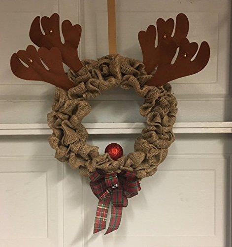 rudolph burlap christmas wreath with bells super cute whimsical - Burlap Christmas Wreath