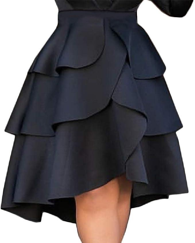Doufine Falda de jardín asimétrica con Cintura Imperio para Mujer ...