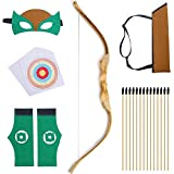 "KNIDOSE Beginners Bow and Arrow For Kids | 35 Pc Archery Set Outdoor or Indoor| Wooden 32"" Bow, 15 Safety Rubber Tip 18"" Arrows, 15 Target Sheets, 1 Quiver, 2 Wristband, 1 Mask for Cosplay Costume Toy"