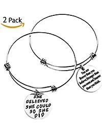 2 Sets Silver Plated Stainless Steel Metal Inspirational Bracelets Engraved Motivational Round Charm Pendant Expandable Adjustable Bracelets Bangle Gift for Women Men