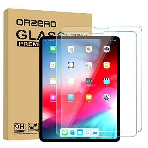 [2 Pack] Orzero for All New iPad Pro 11 inch 2018 (Compatible with Apple Pencil and Face ID) Tempered Glass Screen Protector, 9 Hardness HD [2.5D Arc Edges] [Lifetime Replacement Warranty]