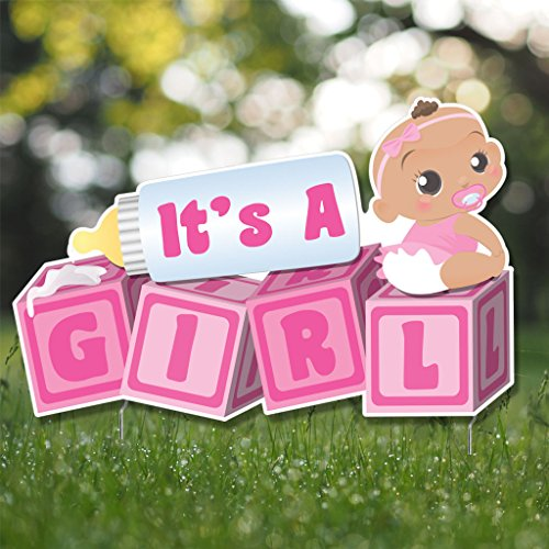 VictoryStore Yard Sign Outdoor Lawn Decorations, It's a Girl Baby Blocks, Baby Announcement Yard Sign - (Dark Skin Tone Baby) -