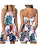 KILIG Women's Summer Floral Backless Spaghetti Strap Jumpsuits Tie Back Rompers (Floral-C, S)