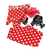 polka dot party supplies - PMLAND Red & Black Polka Dot Deluxe Party Tableware Pack,Including 12 red dot balloons, 12 black dot balloons, red banners x 2, red tablecloths x 2.