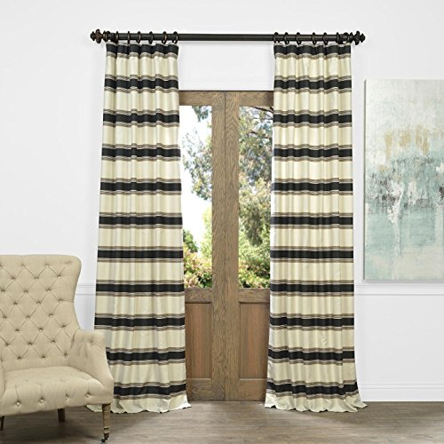 "UPC 706795732989, Half Price Drapes JQCH-AS2142910-84 Horizontal Stripe Jacquard Curtain, Tyler Black/Cream, 50"" x 84"""
