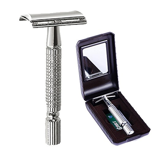 BAILI Men's T-Shaped Shaving Safety Razor Shaver Handle Trimmer Knife Beard Care +1 Blade +1 Mirror Travel Case Silver BT171