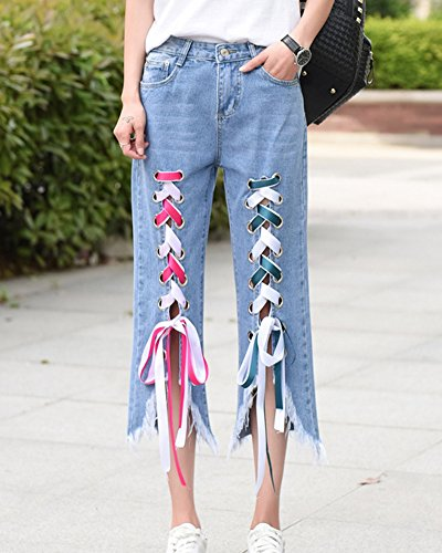 Mujer Vendaje Boyfriend Vaqueros Loose Fit Pantalones Jeans Azul Claro