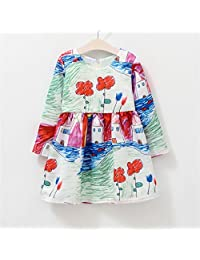 Autumn Winter Baby Girls Graffiti Printing Long Sleeves Princess Dress Lovely Kids Clothes 3-4 Years
