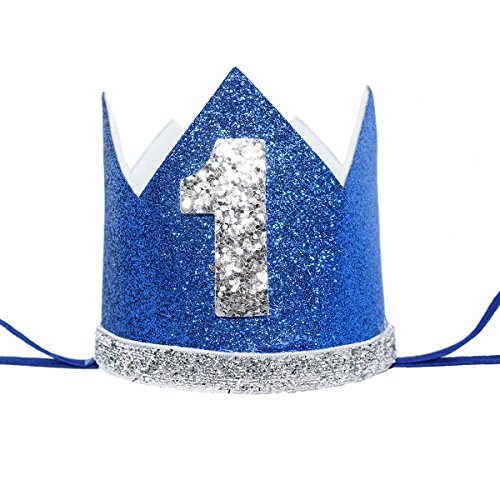 Maticr Glitter Baby Boy First Birthday Crown Number 1 Headband Little Prince Cake Smash Photo Prop (Royal Blue)
