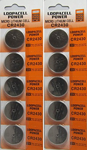 Loopacell Lithium Battery CR2430 - 10 Pcs Pack - 2 Blisters 3V Lithium Button Cell