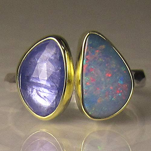 Boulder Opal and Tanzanite Ring in 18k Gold and Sterling Silver