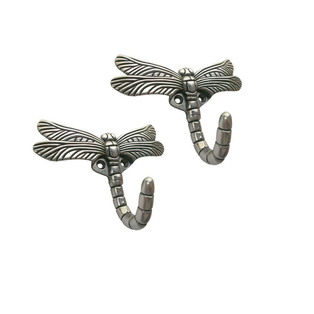 YEJI 2 Hooks Silver Antique Dragonfly Decorative Hooks for Kitchen Bathroom Mirror Towel Robe Coat Key Pewter Hooks Large Wall Door Holder Hook Hanger