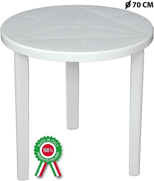 SF Savino Filipo - Mesa redonda de 70 cm de diámetro, fabricada en resina de plástico duro, color blanco, con orificio para sombrilla para exterior, casa, balcón, bar, jardín, redonda: Amazon.es: Hogar