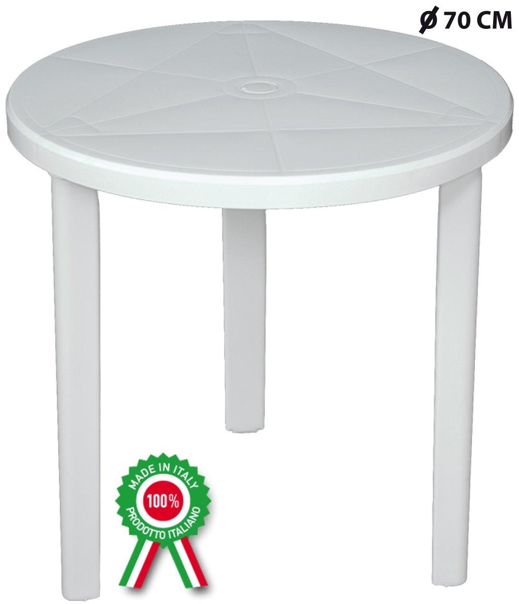 SAVINO FILIPPO SRL Tavolo tavolino tondo diametro 70 cm Milano in dura resina di plastica bianco con foro per ombrellone per esterno casa balcone bar sagra da giardino rotondo