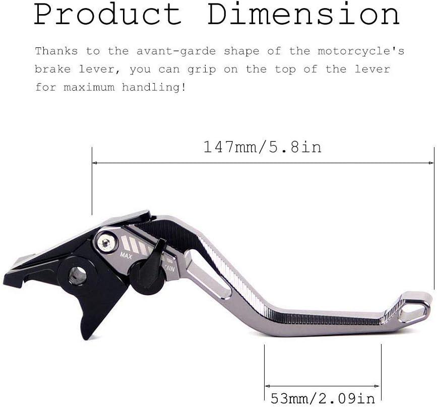 Auzkong Leve freno frizione Set corto regolabile per Kawasaki ZX1400//ZX14R//ZZR1400 2006-2017 GTR1400//CONCOURS 14 2007-2017 grigio