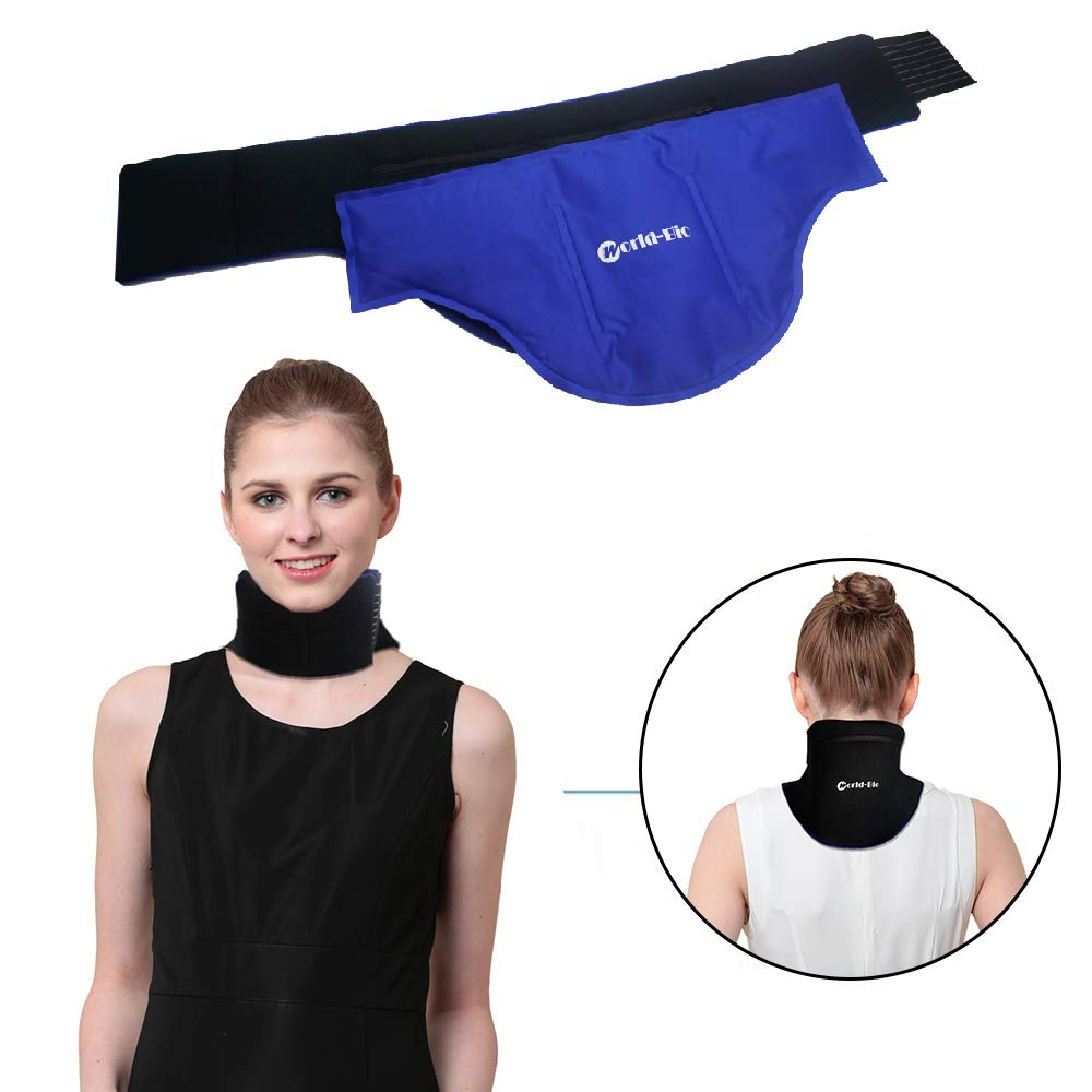 "WORLD-BIO Neck Ice Pack, Hot/Cold Gel Pad & Adjustable Compress Wrap for Injuries, Migraines, Headache, Arthritis, Cold Therapy for Shoulder, Cervical, Muscle Pain, Neck Tension (18.2"" X 8.9"", Blue)"