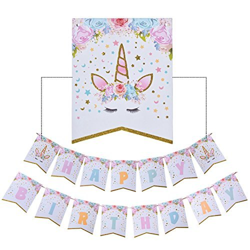 Rainbow Unicorn Banner, Happy Birthday Banner Unicorn Themed Party Favors Decorations for Cute Fantasy Fairy Girls Party Supplies