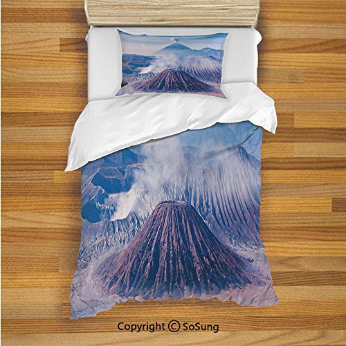 Java Metal Cover - Volcano Kids Duvet Cover Set Twin Size, Bromo Batok and Semeru Volcanoes Java Island Indonesia Magma Activity Decorative 2 Piece Bedding Set with 1 Pillow Sham,Light Blue Mauve White