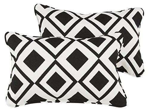 Mozaic Company AZPS7815 Indoor Outdoor Sunbrella Lumbar Pillows with Corded Edges, Set of 2, 12 x 18, Black & White Triangles - Color: Sunbrella Black/ White Materials: Acrylic fabric, filled with 100% recycled polyester fiber Weather, mildew, fade and stain resistant with UV protection - patio, outdoor-throw-pillows, outdoor-decor - 51Zg1nClS3L -
